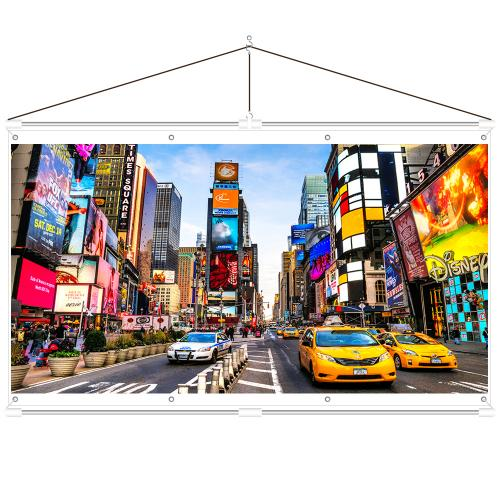 JaeilPLM Indoor, Outdoor [100 Inch] 16:9 Projector Screen, Instant Wrinkle-Free Triangle Hanging Design, 4-Hook Tension Technology - For Home Theater, Gaming, Office, and Movie Projection, 4K Compatible