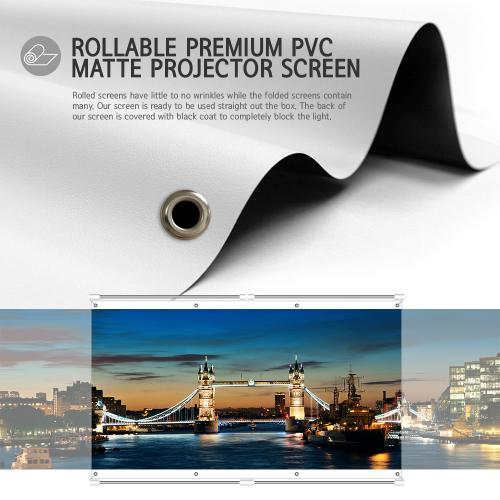 JaeilPLM Indoor, Outdoor [120 Inch] 16:9 Projector Screen, Instant Wrinkle-Free Triangle Hanging Design, 4-Hook Tension Technology - For Home Theater, Gaming, Office, and Movie Projection, 4K Compatible