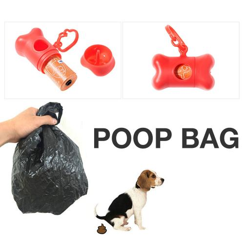 Bone Shape Dog Pooper Scooper Bag Carrier w/ bags [Red]