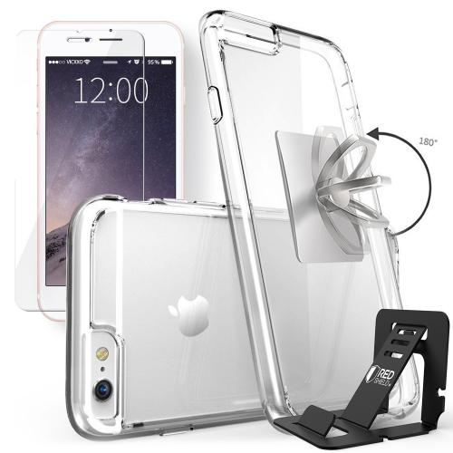 Made for Apple iPhone 6S / 6 Bundle: Flexible Crystal Silicone Clear Gel Skin Case + Tempered Glass Screen Protector + Phone Ring Stand Holder + Portable, Foldable Smartphone Stand by Redshield