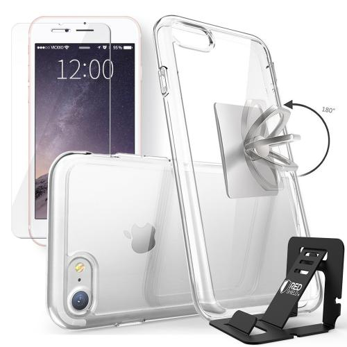 Made for Apple iPhone 8 / 7 Bundle: Flexible Crystal Silicone Clear Gel Skin Case + Tempered Glass Screen Protector + Phone Ring Stand Holder + Portable, Foldable Smartphone Stand by Redshield