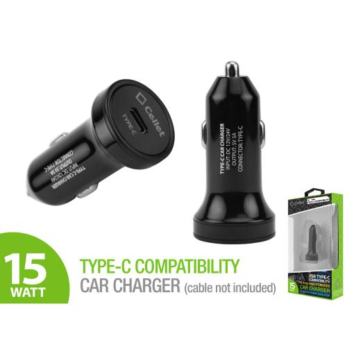 High Powered 3 Amp USB Type-C Car Charger Adapter [Black]
