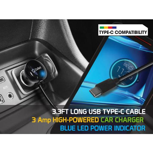 USB Type-C High Powered Car Charger 15 Watt / 3 Amp [Black]