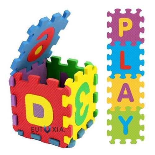 Eutuxia Alphabet Letters & Numbers Mini Puzzle Pieces for Building Blocks & Floor Play Mat. Fun and Colorful Educational Learning Toy for Toddlers, Babies, and Kids. Safe Non-Toxic EVA Foam. [36 Pcs]