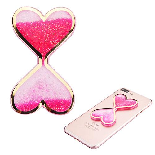 Quicksand Glitter Sticker, 3D [Hot Pink Double Hearts] Quicksand Glitter Puffy Sticker Decal - Add On To Any Phone!