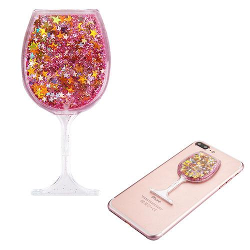 Quicksand Glitter Sticker, 3D [Pink Stars Wine Glass] Quicksand Glitter Puffy Sticker Decal - Add On To Any Phone!