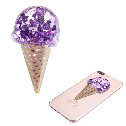 Quicksand Glitter Sticker, 3D [Purple Hearts Ice Cream] Quicksand Glitter Puffy Sticker Decal - Add On To Any Phone!