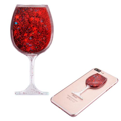 Quicksand Glitter Sticker, 3D [Red Wine Glass] Quicksand Glitter Puffy Sticker Decal - Add On To Any Phone!