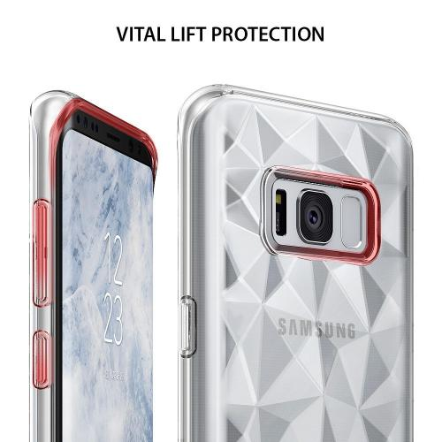 Samsung Galaxy S8 TPU Case, Ringke [AIR PRISM] 3D Pyramid Stylish Diamond Pattern Flexible Jewel-Like Textured Protective TPU Drop Resistant Cover - Clear