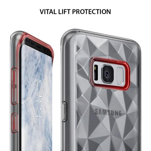 Samsung Galaxy S8 TPU Case, Ringke [AIR PRISM] 3D Design Pyramid Stylish Diamond Pattern Flexible Jewel-Like Textured Protective TPU Drop Resistant Cover - Smoke Black