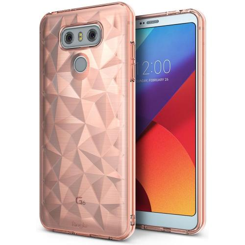 LG G6 Case, Ringke [AIR PRISM] [Attached Dust Cap] 3D Contemporary Design Chic Slim Geometric Stylish Diamond Pattern Flexible Full-body Textured Protective TPU Cover For LG G6 [Rose Gold]