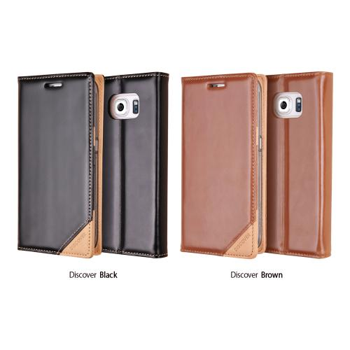 Samsung Galaxy S6 Case, Ringke [Brown] DISCOVER Series Genuine Leather Front Cover Wallet Case w/ Free Screen Protector