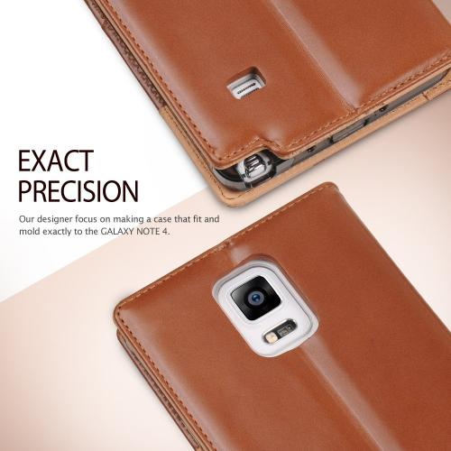 Samsung Galaxy Note 4 Case, Ringke  [Brown] DISCOVER Series Featuring Premium Genuine Leather Front w/ ID Slots w/ Free Screen Protector
