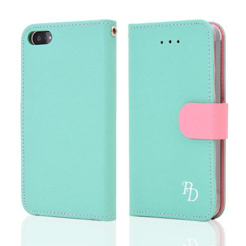 Made for Apple iPhone SE / 5 / 5S  Case, RS Fancy [Mint/Baby Pink]  Faux Leather Diary Flip Hard Case w/ ID Slots Wrist Strap by Redshield