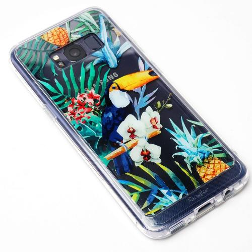 Samsung Galaxy S8 Case, Ringke [DESIGN FUSION] Cute & Pretty Transparent PC Back Protective Cover w/ Shock Absorption TPU Bumper - Aloha Paradise