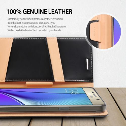 Samsung Galaxy Note 5, Ringke [Brown] SIGNATURE Premium Genuine Leather Standing Diary Case Flip Cover Wallet Case w/ Free Screen Protector