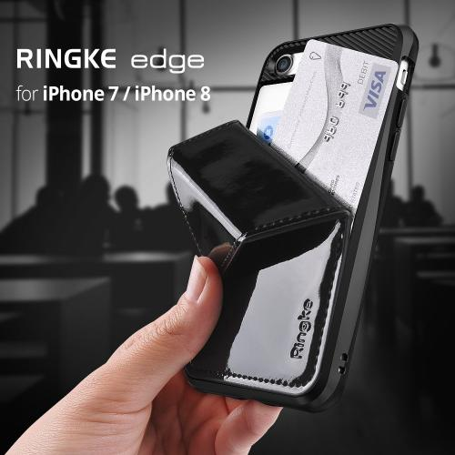[Ringke] Apple iPhone 8 / 7 Case, [EDGE] Durable Wallet Kickstand Shock Absorption Hidden Card Storage Cover [Silver]