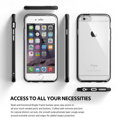 Apple iPhone 6/6S Bumper Case, Ringke [Black] FRAME Drop Protection Clear Soft Shock Absorption Protection Bumper Case