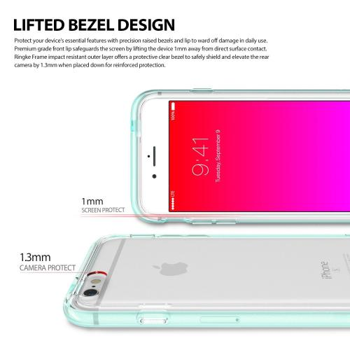 Apple iPhone 6/6S Bumper Case, Ringke [Pink] FRAME Drop Protection Clear Soft Shock Absorption Protection Bumper Case