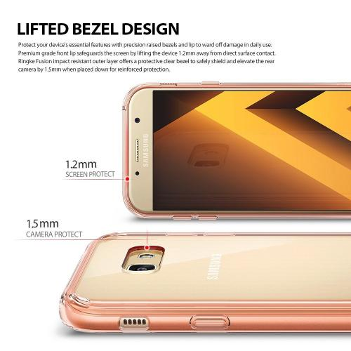 Samsung Galaxy A7 2017 Case, Ringke [FUSION] Shock Absorption TPU Bumper Clear Case - Rose Gold