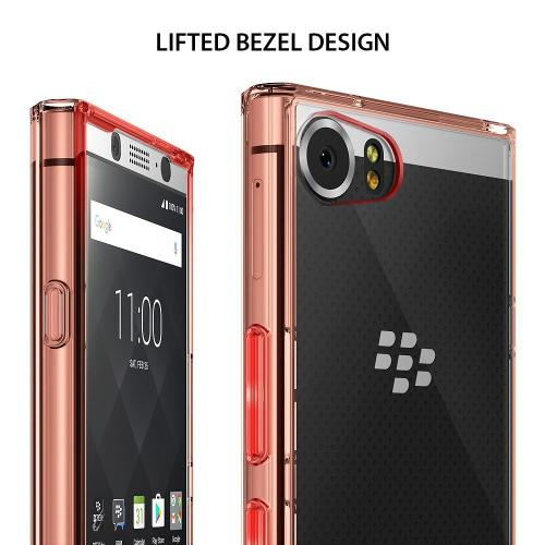 BlackBerry KEYone Case, Ringke [FUSION] Crystal Clear PC Back TPU Bumper Drop Protection Cover - Rose Gold