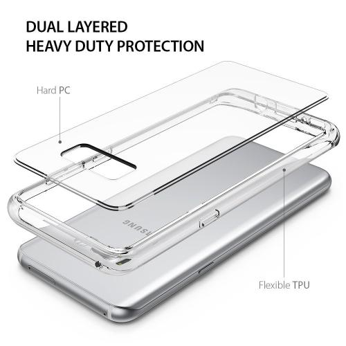 Galaxy S8 Plus Case, Ringke [FUSION] Ergonomic Crystal Clear Transparent PC Back Silicone Bumper Drop Protection Shock Absorption Technology for Samsung Galaxy S8 Plus - Clear