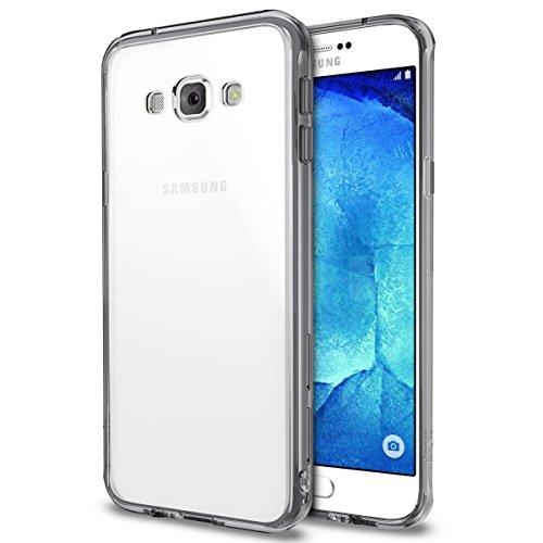 Galaxy A8 Case - Ringke FUSION Case [Smoke Black] [FREE HD FILM] Shock Absorption Bumper Premium Hybrid Hard Case