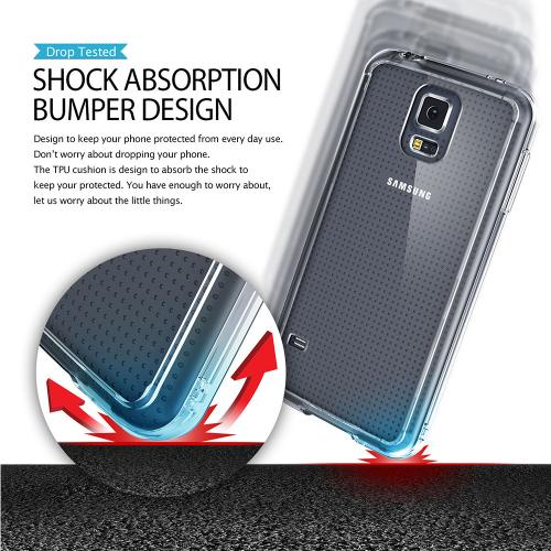 Galaxy S5 Case, Ringke [Black] FUSION Bumper Case [Free HD Screen Protector] - Shock Absorption TPU Bumper Case with Crystal Clear Hard Polycarbonate Back for Samsung Galaxy S5 - Retail Packaging