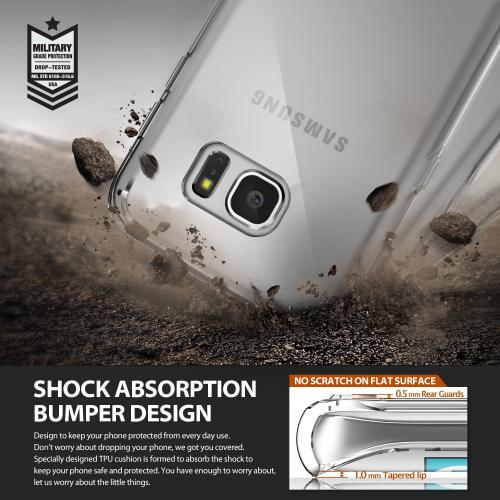 Samsung Galaxy S7 Edge Case, Ringke [Rose Gold Crystal] FUSION Series Absorb Shock TPU Bumper Clear Case