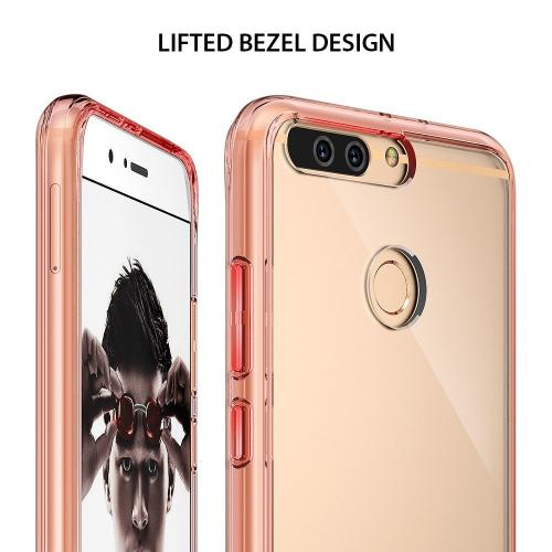Huawei Honor 8 Pro Case, Ringke [FUSION] Tough PC Back TPU Bumper [Shock Absorption Technology/Attached Dust Cap] Raised Bezels Protective Cover For Huawei Honor 8 Pro / V9 - Rose Gold Crystal