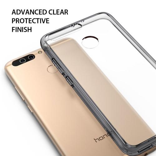 Huawei Honor 8 Pro Case, Ringke [FUSION] Tough PC Back TPU Bumper [Shock Absorption Technology/Attached Dust Cap] Raised Bezels Protective Cover For Huawei Honor 8 Pro / V9 - Smoke Black