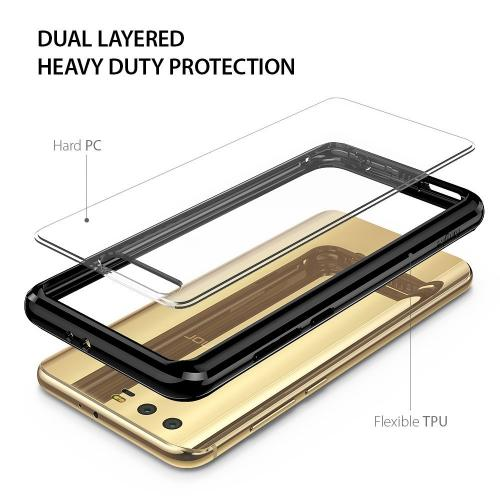 Huawei Honor 9 Case, Ringke [FUSION] Crystal Clear PC Back TPU Bumper Drop Protection Cover - Ink Black
