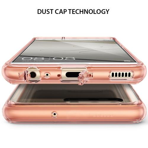 Huawei P10 Case, Ringke [FUSION] Tough PC Back TPU Bumper [Drop Protection/Shock Absorption Technology][Attached Dust Cap] Raised Bezels Protective Cover For Huawei P10 - Rose Gold Crystal