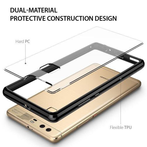 Huawei P9 Plus Case, Ringke [FUSION] Crystal Clear PC Back TPU Bumper [Drop Protection / Shock Absorption Technology] for Huawei P9 Plus - Ink Black