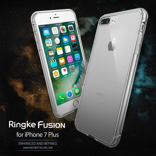 [Ringke] Apple iPhone 8 Plus / 7 Plus Case, [FUSION] Crystal Clear PC Back TPU Bumper Drop Protection Cover [Ink Black]