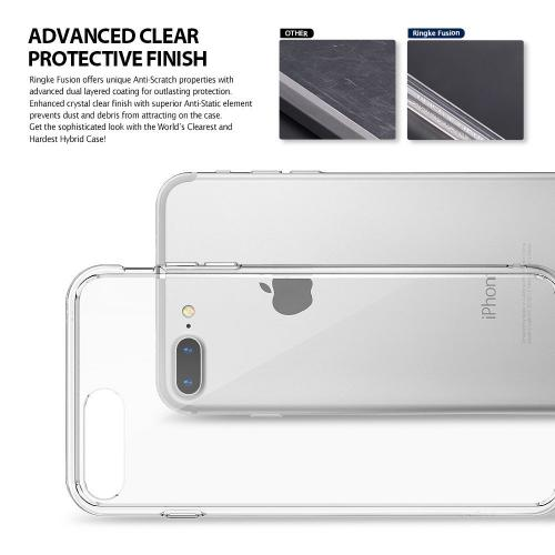[Ringke] Apple iPhone 8 Plus / 7 Plus Case, [FUSION] Crystal Clear PC Back TPU Bumper Drop Protection Cover [Smoke Black]