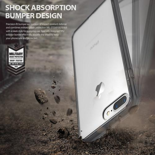 [Ringke] Apple iPhone 8 Plus / 7 Plus Case, [FUSION] Tough PC Back TPU Bumper Drop Protection Cover [Shadow Black]