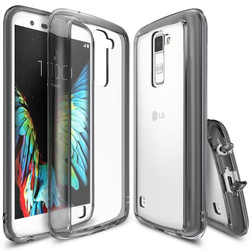 LG K10 Case, Ringke [Smoke Black] FUSION Series Attached Dust Cap Absorb Shock TPU Bumper Clear Case w/ Free Screen Protector