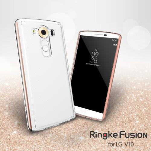 LG V10 Case, Ringke [Rose Gold Crystal] FUSION Series Shock Absorption Premium Clear Hard Case w/ Free Screen Protector