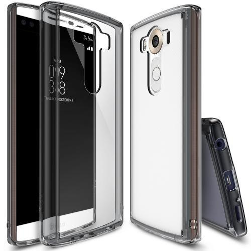 LG V10 Case, Ringke [Smoke Black] FUSION Series Shock Absorption Premium Clear Hard Case w/ Free Screen Protector
