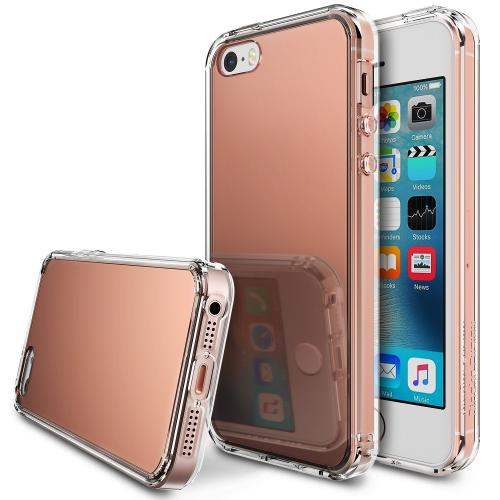 Apple iPhone SE / 5 / 5S Case, Ringke [Rose Gold] FUSION MIRROR Bright Reflection Radiant Luxury Mirror Case