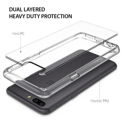OnePlus 5 Case, Ringke [FUSION] Crystal Clear PC Back TPU Bumper Drop Protection Cover - Clear
