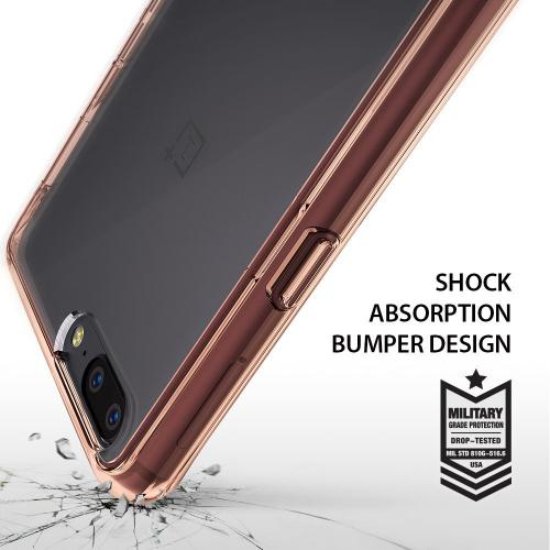 OnePlus 5 Case, Ringke [FUSION] Crystal Clear PC Back TPU Bumper Drop Protection Cover - Rose Gold