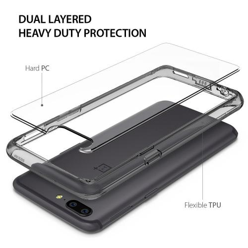 OnePlus 5 Case, Ringke [FUSION] Crystal Clear PC Back TPU Bumper Drop Protection Cover - Smoke Black