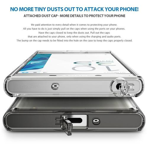 Sony Xperia XZ Case, Ringke [FUSION] Shock Absorption TPU Bumper Clear Case - Clear