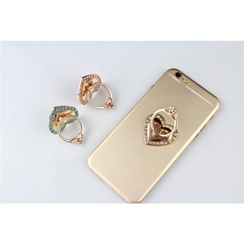 Phone Ring Stand Holder, [Gold & Blue Bling Heart] 360 Degree Rotation Phone Grip Kickstand For Universal Smartphones Cell Phone