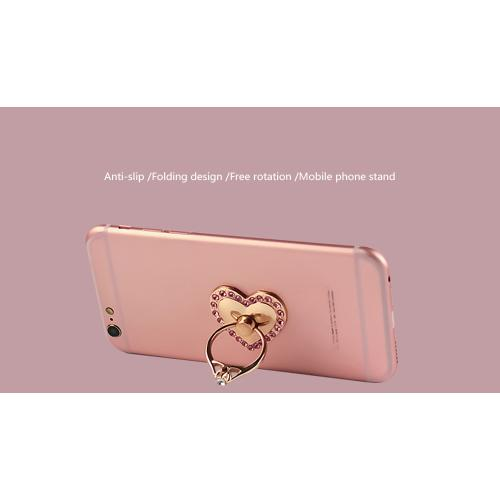 Phone Ring Stand Holder, [Gold & Pink Bling Heart] 360 Degree Rotation Phone Grip Kickstand For Universal Smartphones Cell Phone
