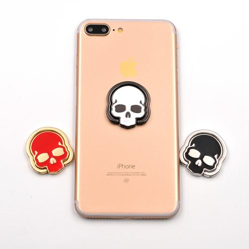 Phone Ring Stand Holder, [Black Skull] 360 Degree Rotation Phone Grip Kickstand For Universal Smartphones Cell Phone