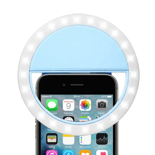The Ring Light Universal Rechargeable Selfie LCD Camera Light w/ 3 Adjustable Brightness Levels [Blue]