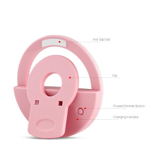 The Ring Light Universal Rechargeable Selfie LCD Camera Light w/ 3 Adjustable Brightness Levels [Pink]